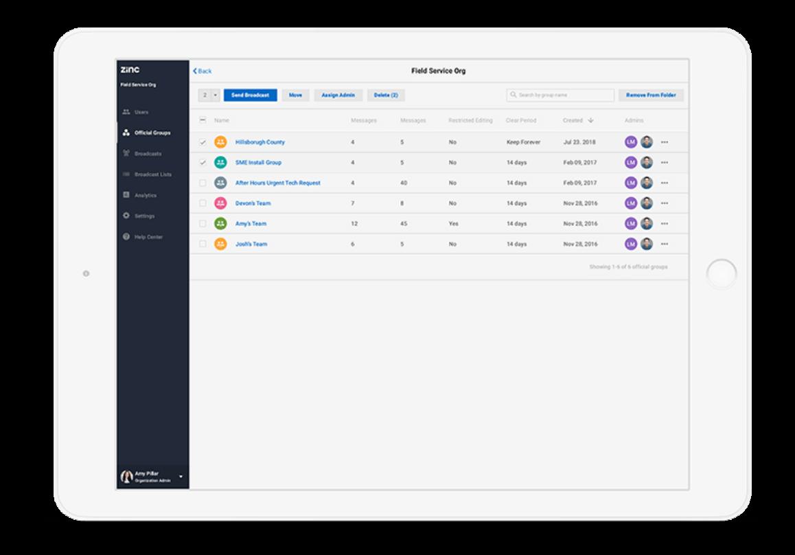 Zinc Overview Admin Integration
